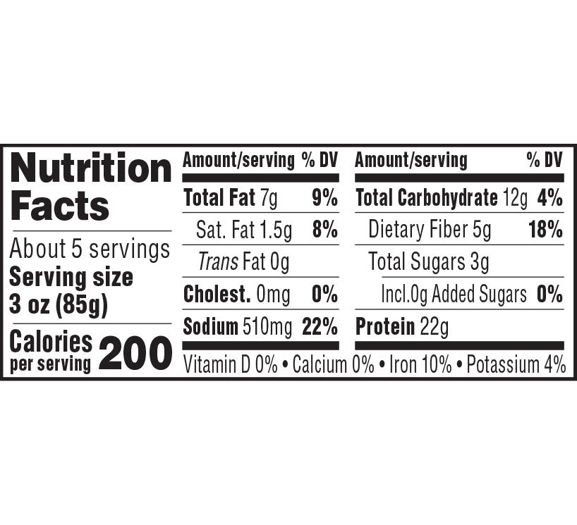nutrition label for Celebration Roast