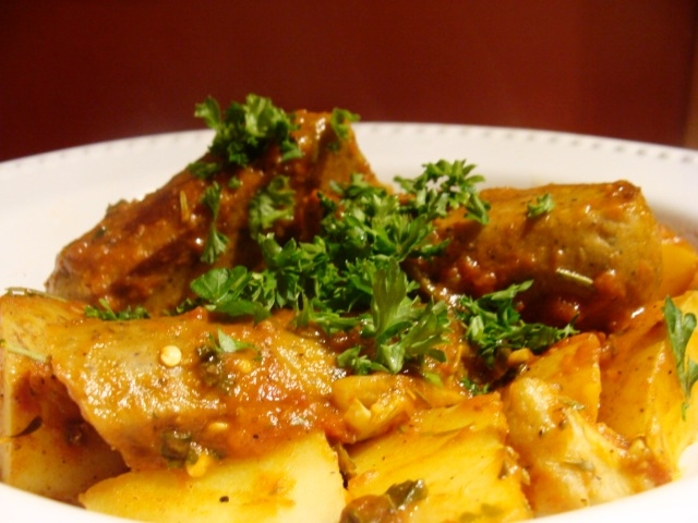 Italian Sausages, Potatoes, and Artichoke Hearts in Tomato Broth