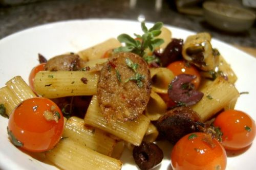 Italian Sausage Rigatoni with Balsamic Onions and Cherry Tomatoes