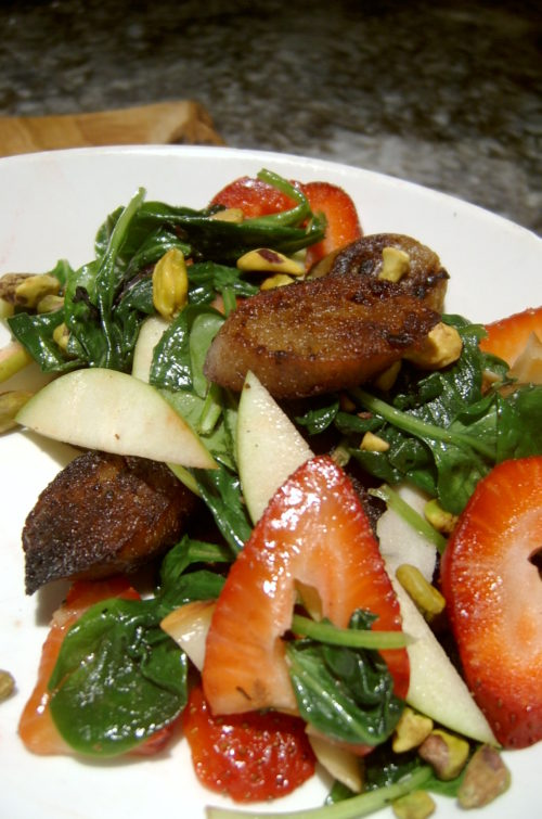 Image for Wilted Spinach Salad with Smoked Apple Sage Sausage and Strawberries