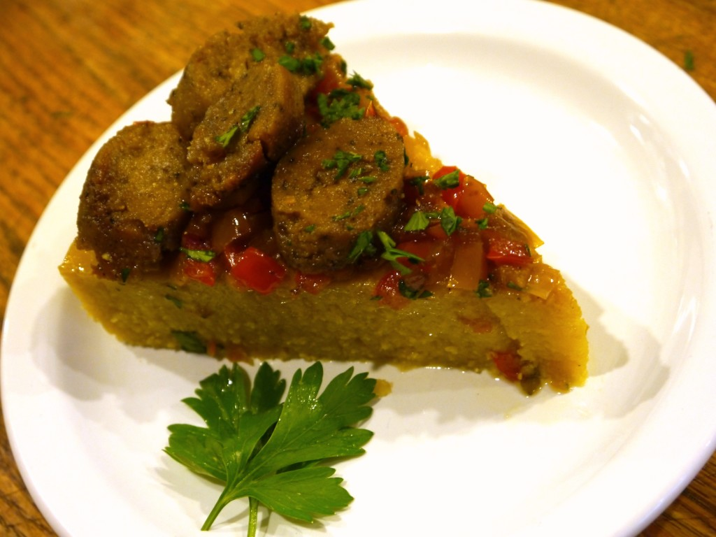 Breakfast Polenta with Sausage, Onion and Peppers