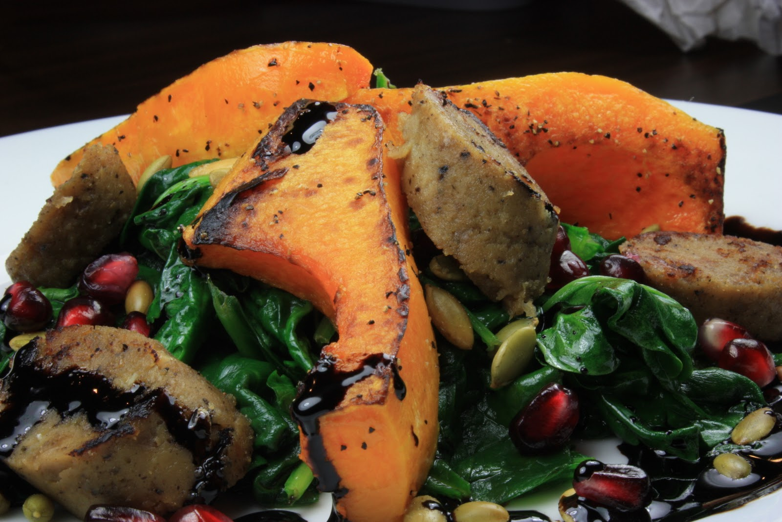 Harvest Spinach Salad with Smoked Apple Sage Sausage