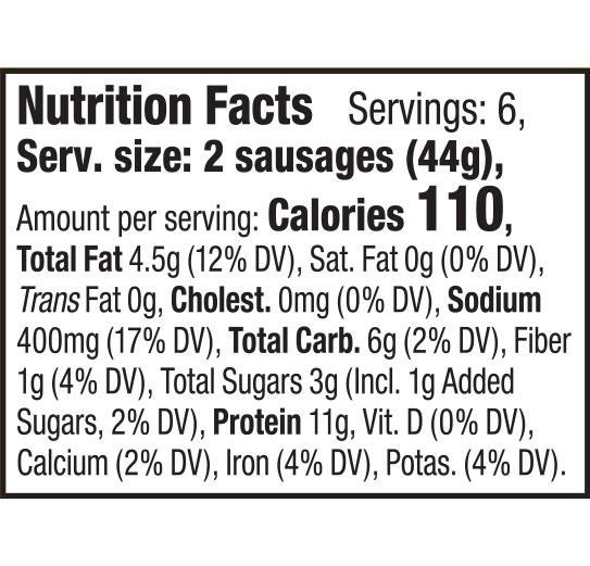 nutrition label for Apple Maple Breakfast Sausage