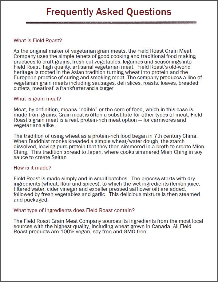 Press FAQ screen