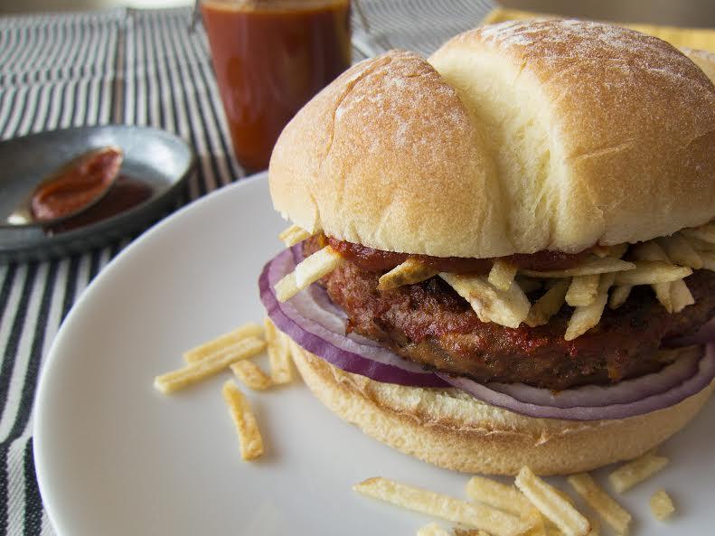 Frita Cubana (Cuban Burger with Shoestring Potatoes)