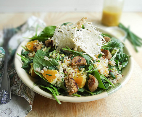 Green Quinoa Salad with Chao Cheese Crisps