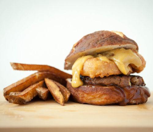 Onion Ring FieldBurger with Beer Cheese Sauce