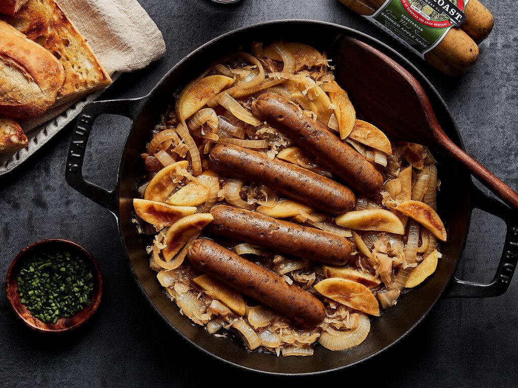 Beer Braised Smoked Apple Sage Sausages