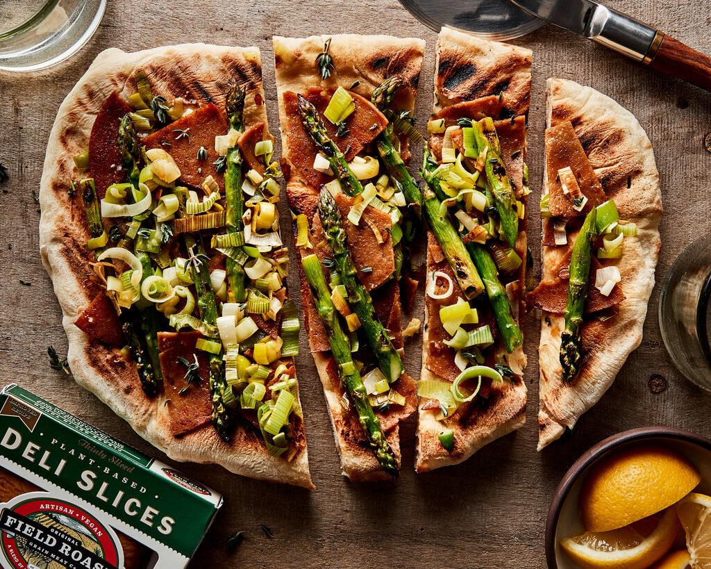 Lentil Sage & Asparagus Grilled Pizza