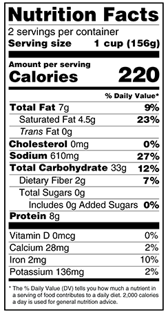 nutrition label for Chili Mac 'n Chao