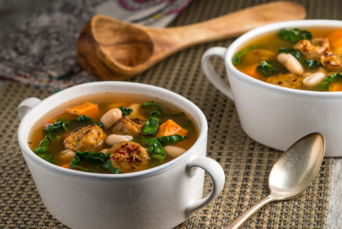 White Bean and Kale Soup with Field Roast Italian Sausage