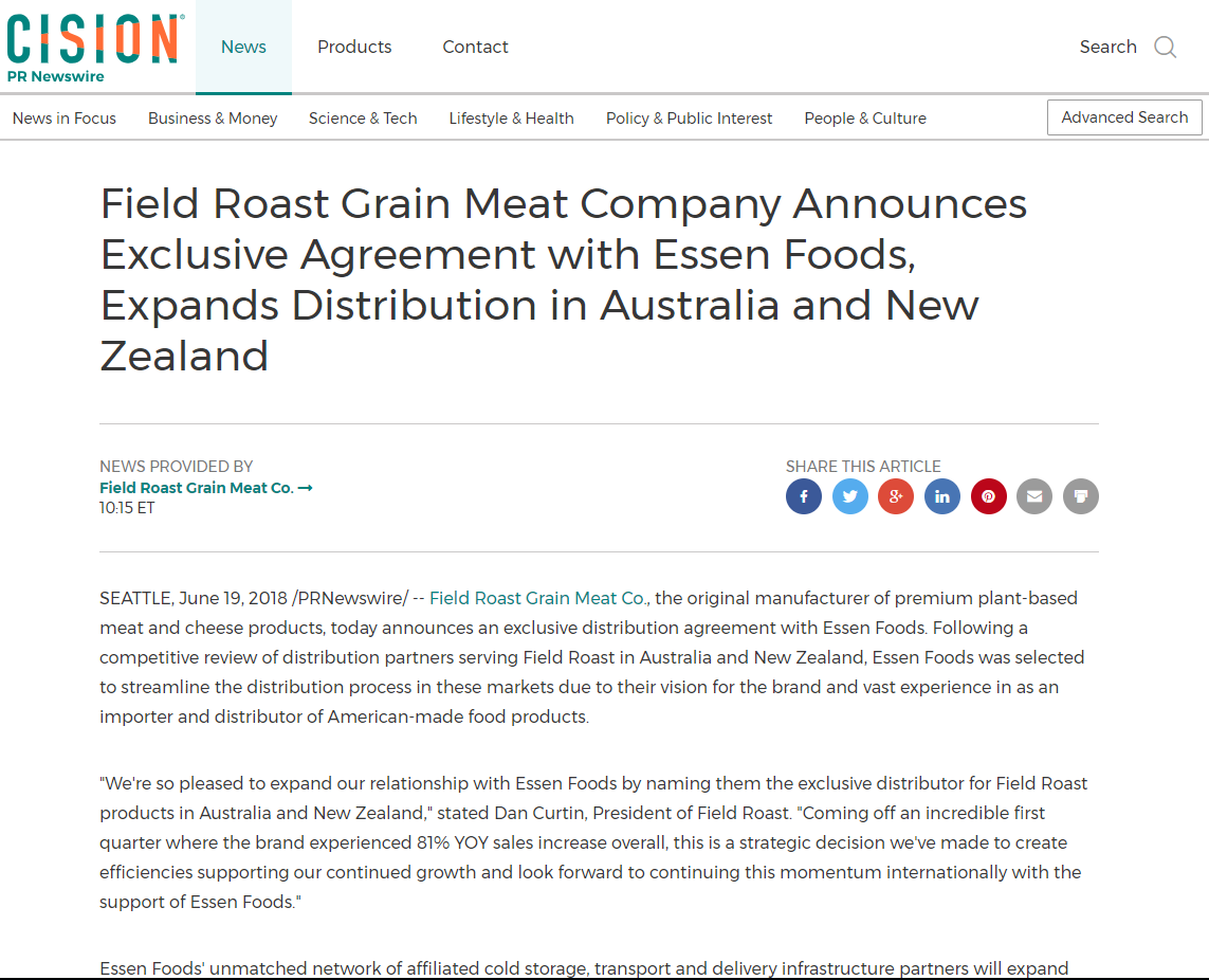 Image for Field Roast Grain Meat Company Announces Exclusive Agreement with Essen Foods, Expands Distribution in Australia and New Zealand