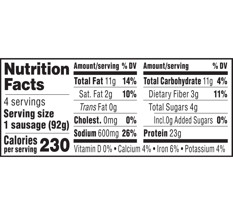 nutrition label for Bratwurst Sausage