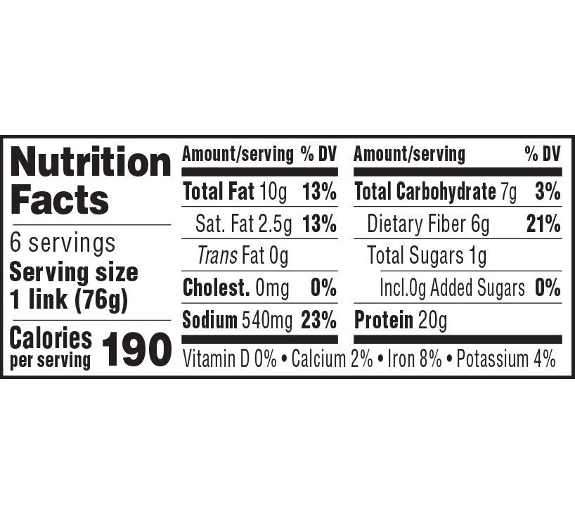 nutrition label for Frankfurters