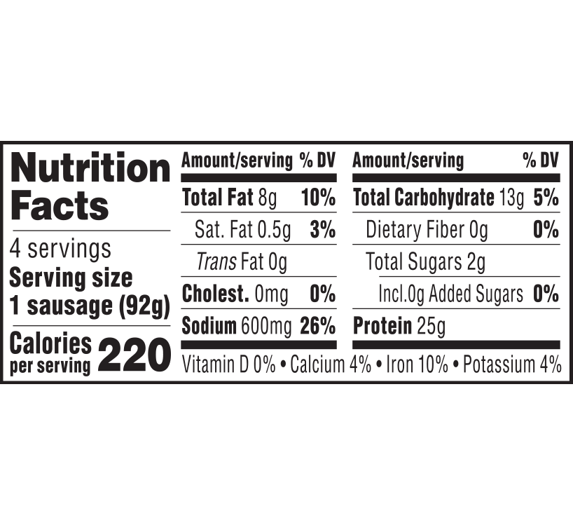 nutrition label for Italian Sausage