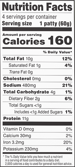 nutrition label for Breakfast Sausage Patties