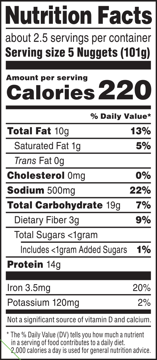 nutrition label for Plant-Based Nuggets