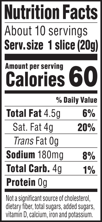 nutrition label for Creamy Original Chao Slices