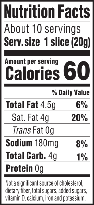 nutrition label for Garden Herb Chao Slices