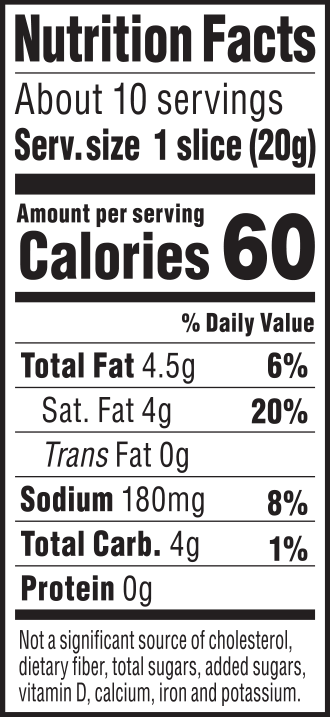 nutrition label for Tomato Cayenne Chao Slices