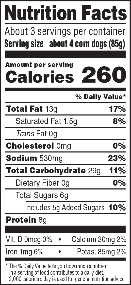 nutrition label for Miniature Corn Dogs