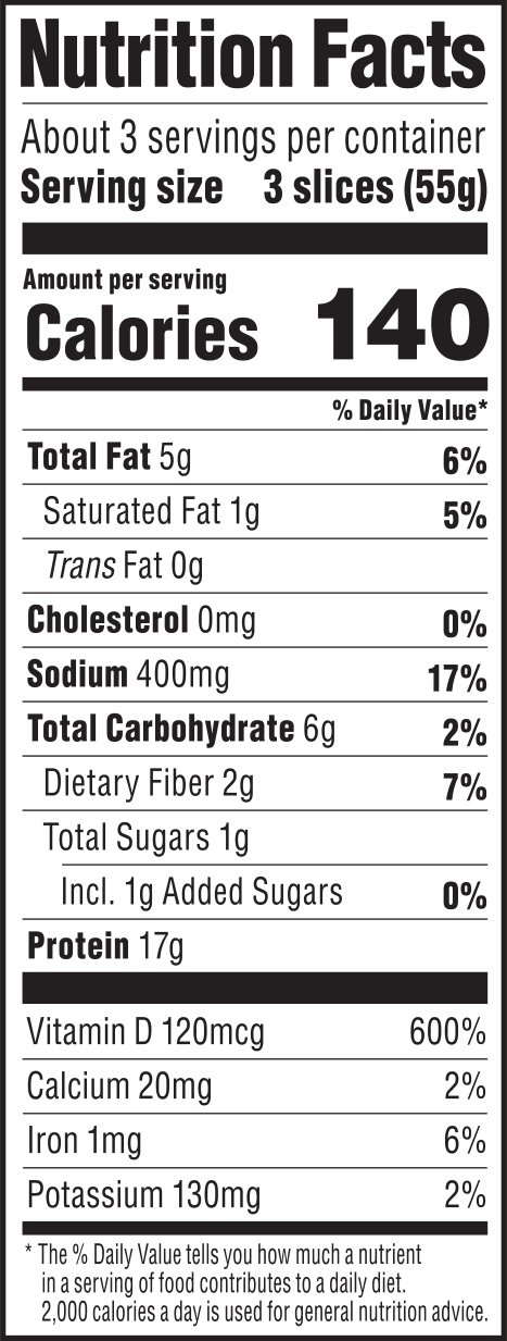 nutrition label for Lentil Sage Deli Slices