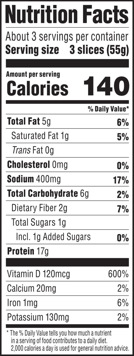nutrition label for Lentil Sage Deli Slices