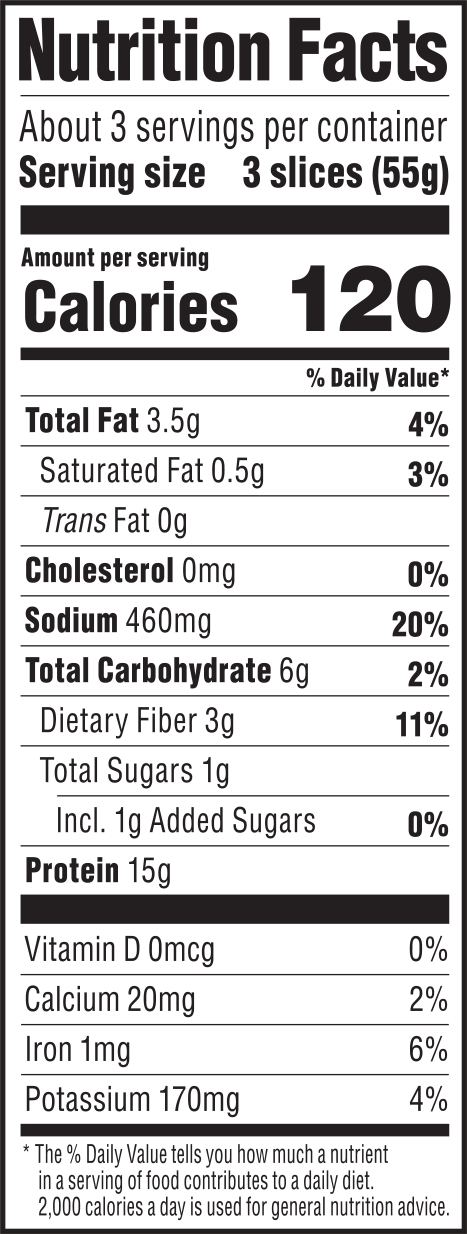 nutrition label for Smoked Tomato Deli Slices