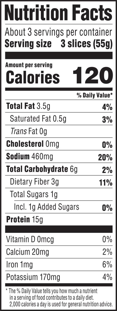 nutrition label for Smoked Tomato Deli Slices