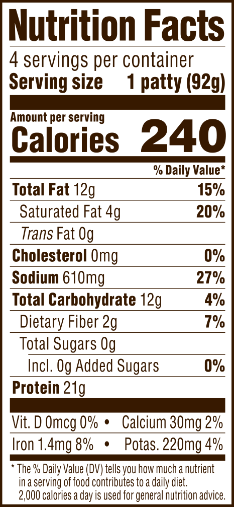 nutrition label for FieldBurger