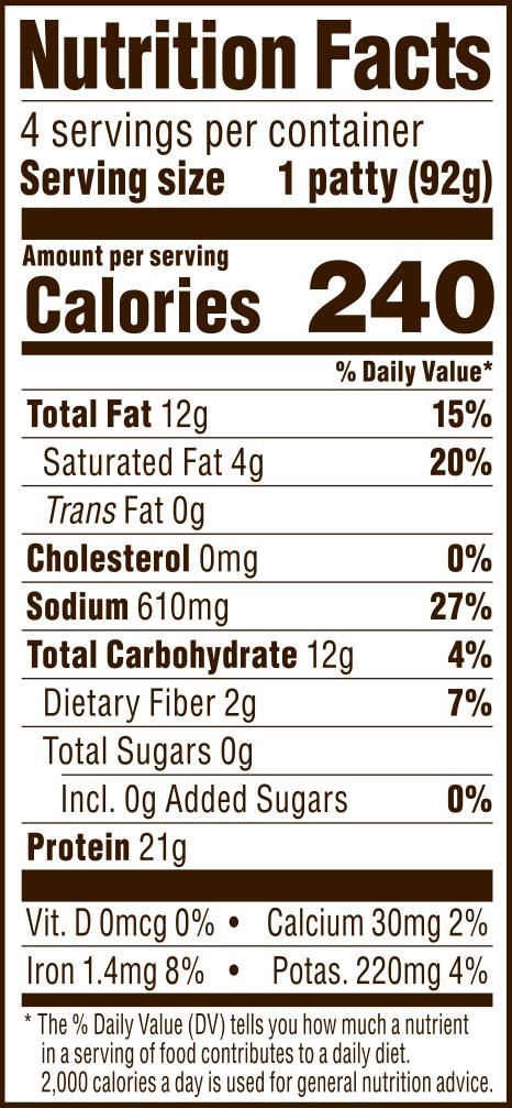 nutrition label for FieldBurger