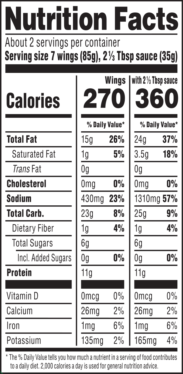nutrition label for FRuffalo Wings