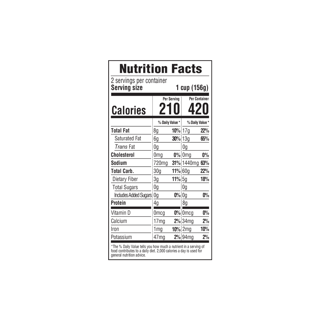 nutrition label for Creamy Mac 'n Chao