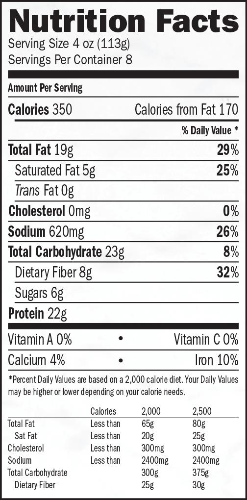 nutrition label for Hazelnut Cranberry Roast En Croute