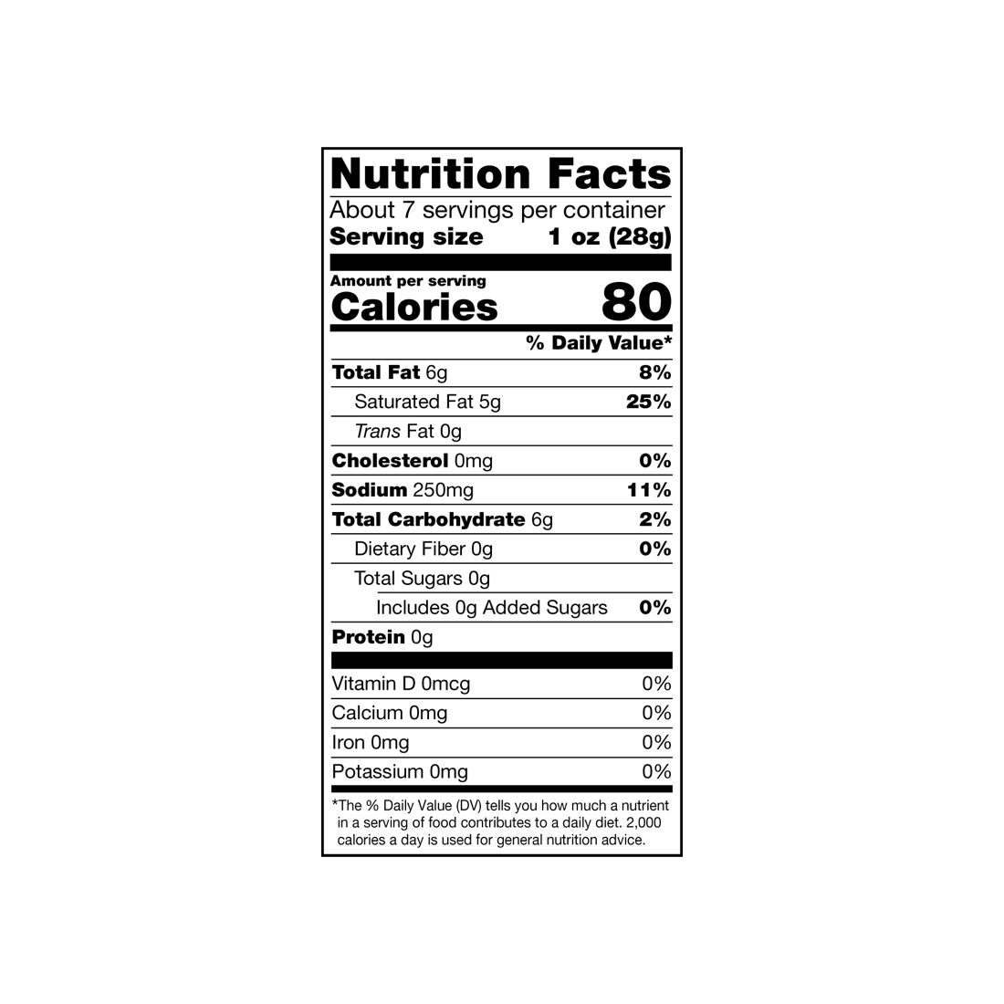 nutrition label for Chao Shreds – Mexican Style Blend